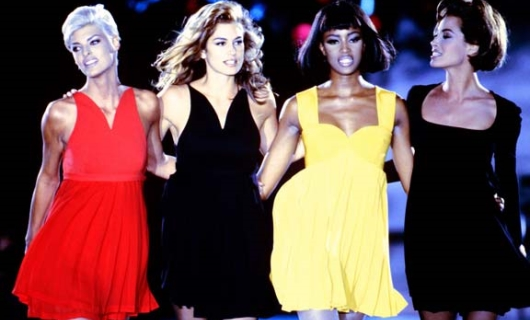Linda Evangelista, Cindy Crawford, Naomi Campbell and Christy Turlington By Gianni Versace Fashion Show In 1991