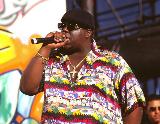The Notorious B.I.G. aka Biggie Smalls Wears Versace Shirt and Sunglasses