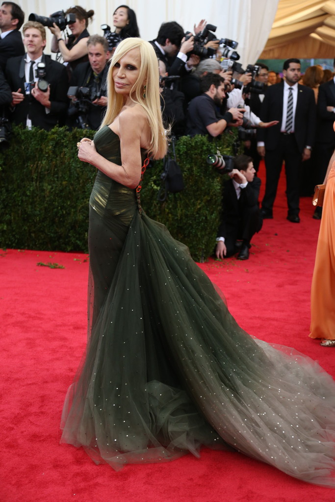 Donatella Versace in Elegant Green Ball Gown at 2014 Met Gala