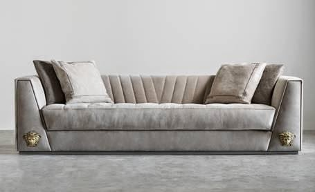 Versace Sofa With Sloping Versace V