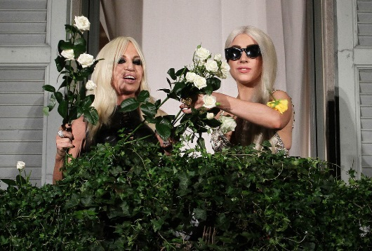 Donatella Versace and Lady Gaga in Rome