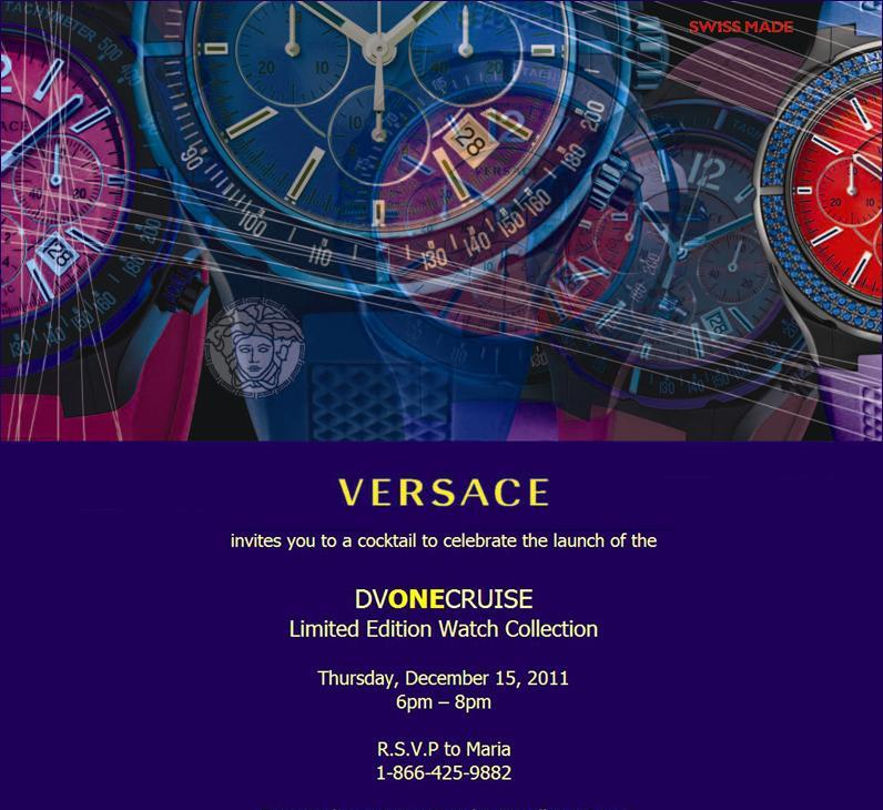 Versace DV One Cruise December 15 Launch Invitation