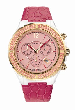 Versace Ladies 28CCP15D111 S111 DV One Cruise Collection Pink Dial Chronograph