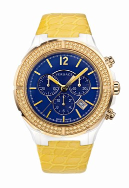 Versace Ladies 28CCP16D282 S585 DV One Cruise Collection Blue Dial Chronograph