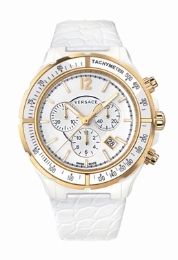 Versace Ladies 28CCP1D001 S001 DV One Cruise Collection White Dial Chronograph