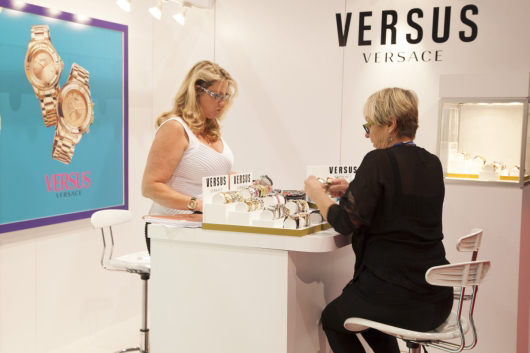Kari Allen Showing Versus Watches at WWD Magic Trade Show 2014