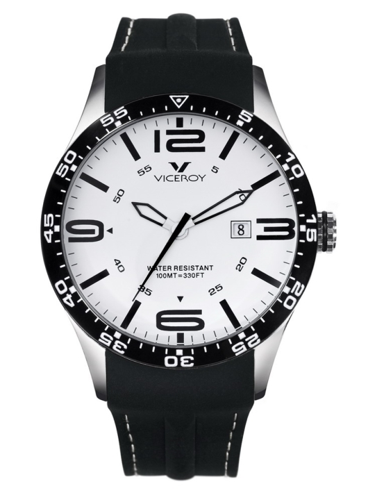 Viceroy 432049-05 Men's White Dial Black Rubber Date Watch