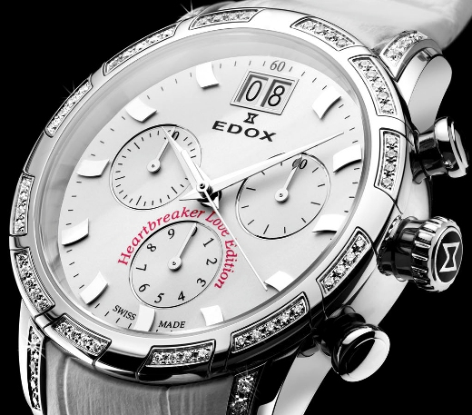 Edox Ladies 10018 3D AIN Heartbeaker Limited Edition Chronograph Fashion Watch - Front View