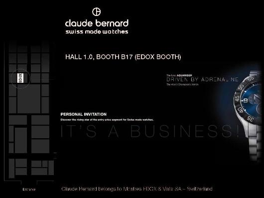 Invitation to the Claude Bernard Exhibit, March 8-15, 2012 at Baselworld 2012, Hall 1.0, Booth B-17