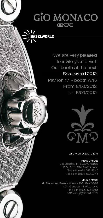 Invitation to the Gio Monaco Exhibit, March 8-15, 2012 at Baselworld 2012, Hall 1.1, Booth A-15