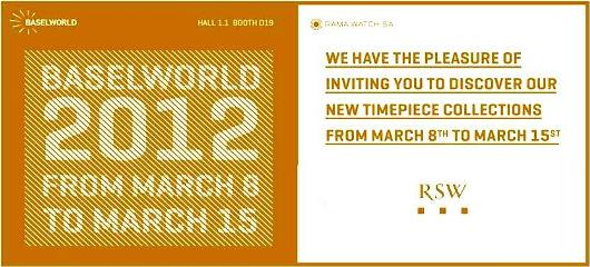 Invitation to the RSW Exhibit, March 8-15, 2012 at Baselworld 2012, Hall 1.1, Booth D-71
