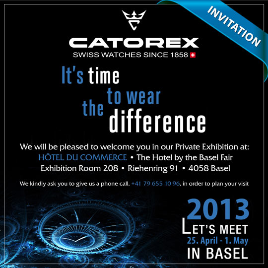 Invitation to the Catorex Exhibit, April 25 - May 1, 2013 at the Hotel du Commerce near the Basel Fairgrounds