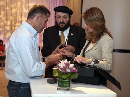 Keith Strandberg, International Editor Watch Journal Magazine, Being Shown Meccaniche Veloci Watches by Monica Banon, Meccaniche Veloci Export Sales Manager and Samuel Friedmann, President Gevril Group
