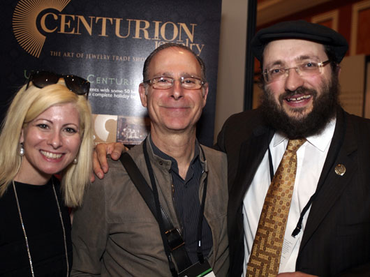 Lauren Kulchinsky-Levison and Dan Kulchinsky, Owners of Mayfair Jewelers Posing with Samuel Friedmann at Couture 2013