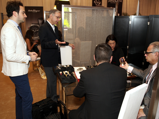 Stefano Arosio and Paul Ziff of Ferragamo Timepieces Showing The 2013 Ferragamo Collection to Couture Attendees