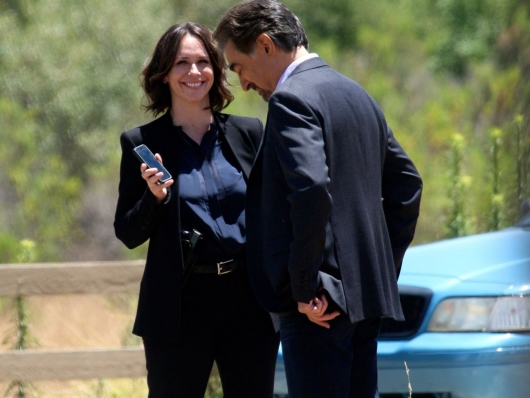 Jennifer With Co-Actor Joe Mantegna on the Set of Criminal Minds
