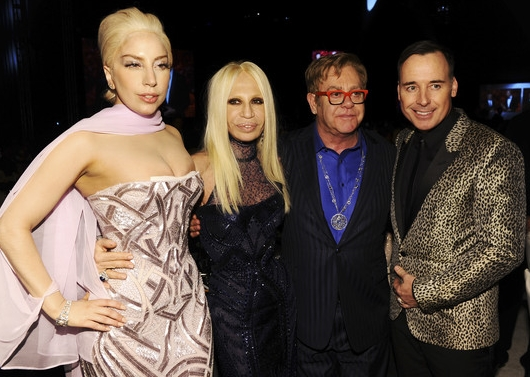 Lady Gaga, Donatella, Sir Elton John and David Furnish At The Elton John AIDS Foundation Viewing Party On March 2014