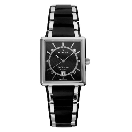 Edox Mens 82005 357N NIN Les Bémonts Rectangular Automatic Watch - Front View