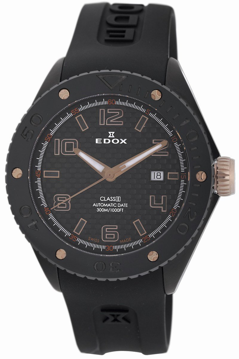 Edox Mens 80078 357RN NIR2 Class-1 Automatic Rotating Bezel Watch - Front View