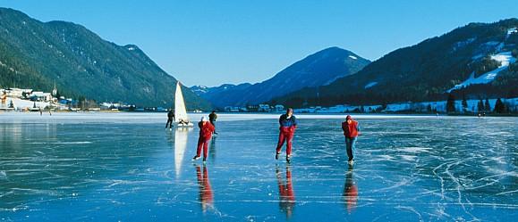 Lake Weissensee Ice Sports in Carinthia, Austria