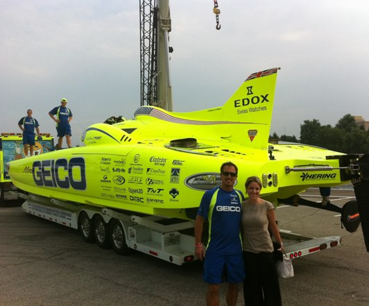 Marc Granet and Maria Rinaldi Pose in front of the Miss Geico Mystic