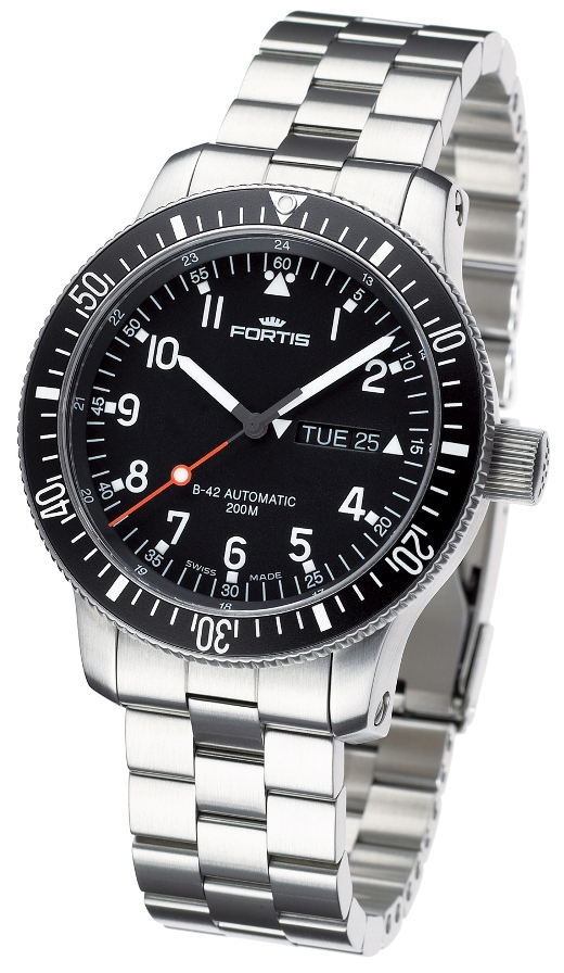 Fortis Mens 647.10.11 M B-42 Official Cosmonauts Day/Date Aeronautic Black Dial Watch