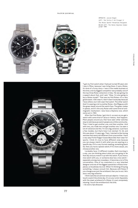 Watch Journal Features Julien Bigen's Fortis and Rolex Collections
