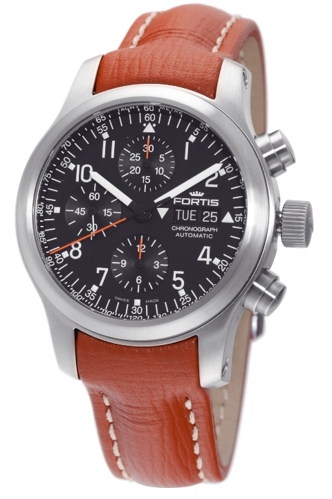 Fortis Mens 635.10.11 L.08 B-42 Pilot Professional Black Dial Chronograph Aviator Watch