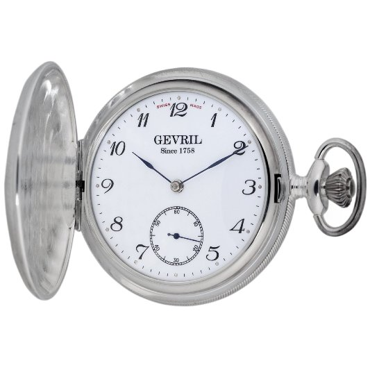 Gevril Mens G680.021.25 1758 Collection Mechanical Hand Wind White Dial Swiss Pocket Watch