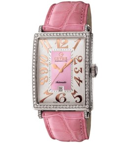 Gevril Ladies 6208RV Avenue of Americas Glamour Automatic Pink Diamond Watch - Front View