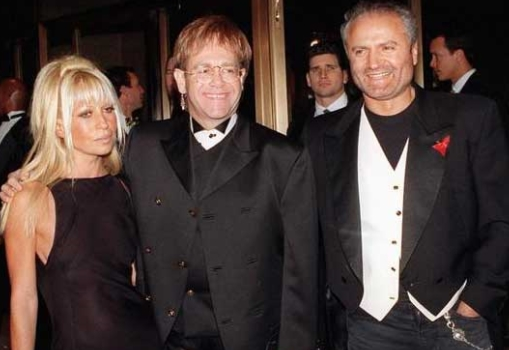 Gianni Versace With Elton John and Donatella