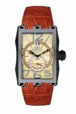 Gio Monaco Mens 598-A Mac V Collection Quartz Rectangular Big Date Beige Dial Watch