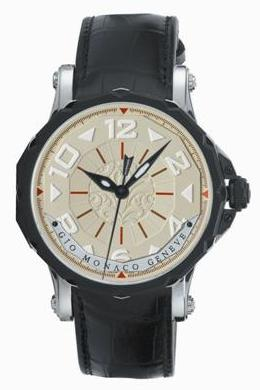 Gio Monaco Mens 676-A Hypnos Collection Automatic Luminous Hands 3-D Beige Dial Watch