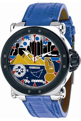 Gio Monaco Mens 767-A2 Graffiti Collection Automatic Pop-Art Geographic Scenes Blue Dial Watch