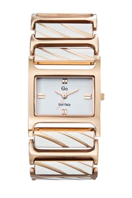 Go Girls 694028 Rose-Gold PVD Rectangular Ceramic Bracelet Watch