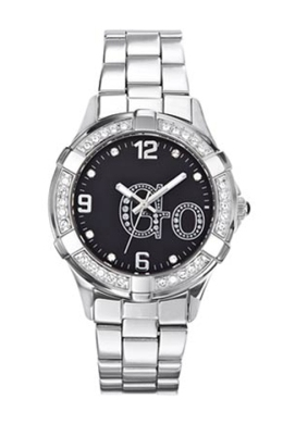 Go Girls 694450 Black Dial Crystal Steel Bracelet Watch
