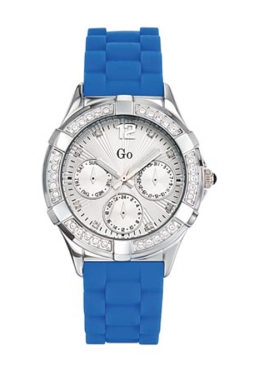 Go Girls 697768 Blue Dial Crystal Blue Soft Rubber Watch