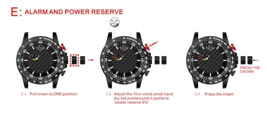 Setting the Alarm and Power Reserve Indicator