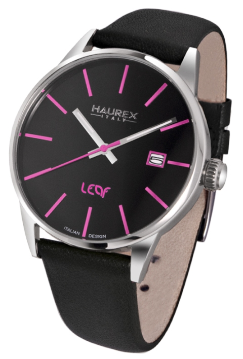 Haurex Ladies 6A363DNP LEAF Collection Pink Accents Black Dial Watch