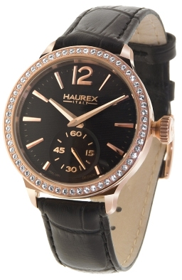 Haurex Ladies FH341DNH Grand Class Crystal Bezel Textured Black Dial Watch