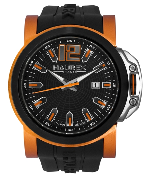 Haurex Mens 1D370UNO San Marco Collection Orange Accents Black Spider Web Dial Watch