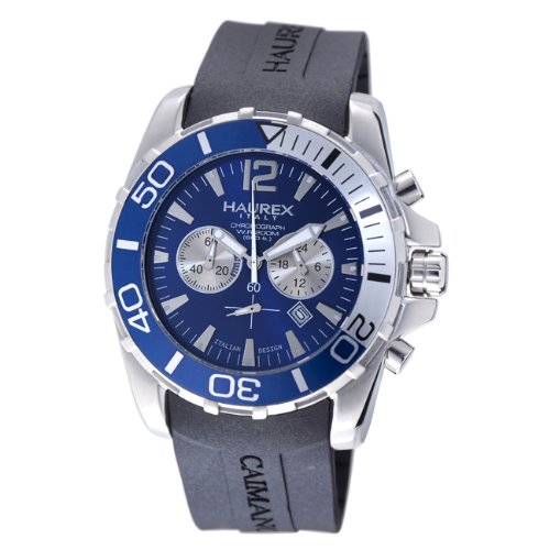Haurex Mens 3A354UBB Caimano Chronograph Blue Dial Divers Watch - Front View