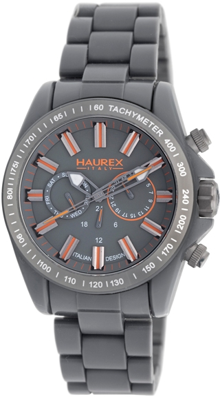 Haurex Mens G0366UGO Aston PC Gray Dial Orange Accents Fashion Watch