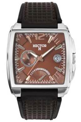Hector H Mens 665231 Retrograde Dual Time Brown Dial Watch