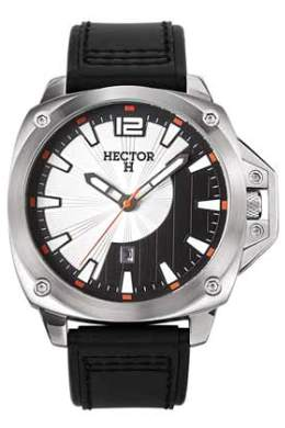 Hector H Mens 665248 Natural Leather Band Silver Black Date Watch