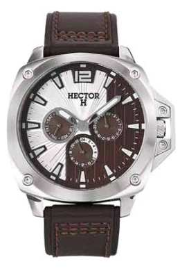 Hector H Mens 665253 Silver Brown 24-Hour Day Date Subdial Watch