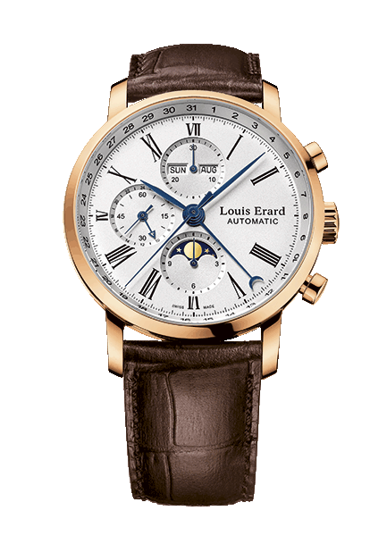 Louis Erard Mens 80 231 OR 01 Excellence Collection Gold Mechanical Automatic Chronograph Watch