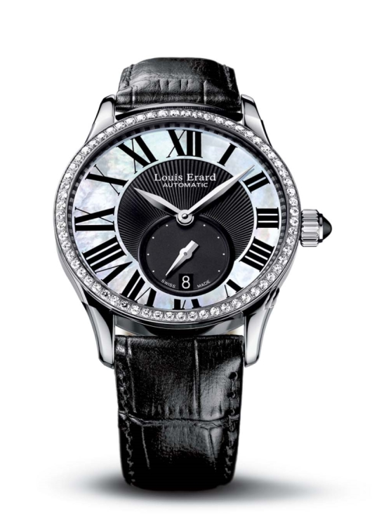 Louis Erard 92310SE02.BAV04 Women's Emotion MOP Black Dial Alligator Leather Diamond Automatic Watch