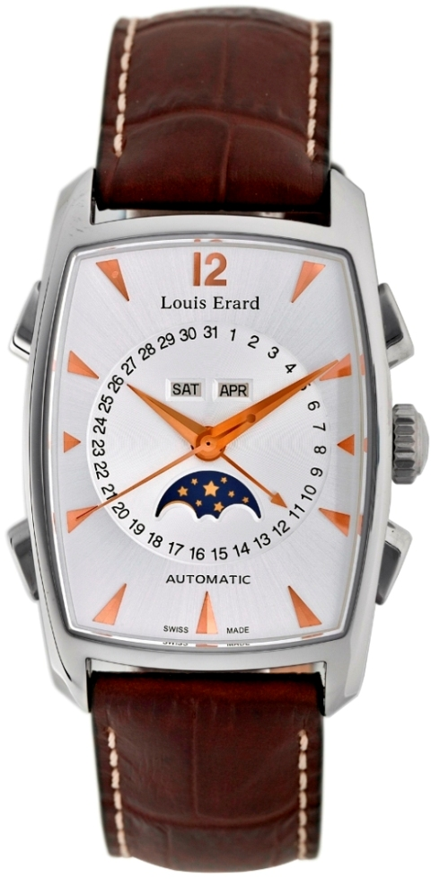 Louis Erard Mens 44211AA01.BDC52 1931 Moonphase Silver Dial Watch