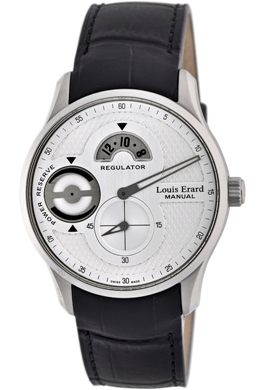 Louis Erard Mens 54209AS11.BDC25 1931 Silver Dial Power Reserve Regulator Watch